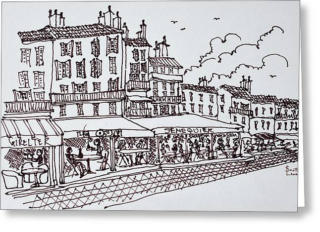 Restaurant Dining, Saint-tropez, French Greeting Card