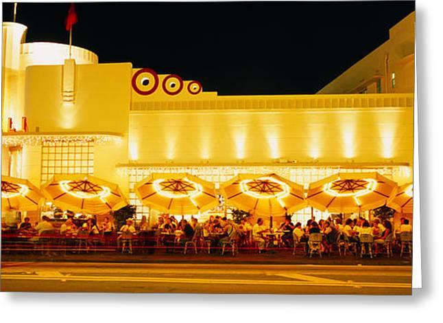 Restaurant Lit Up At Night, Miami Greeting Card