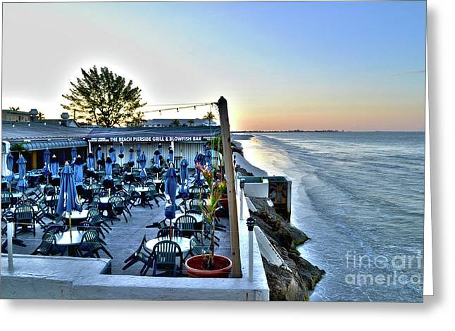 Restaurant On Fort Myers Beach Florida Greeting Card by Timothy Lowry