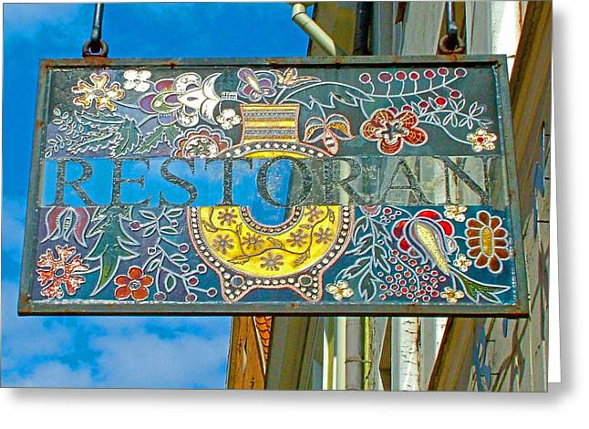Restaurant Sign In Old Town Tallinn-estonia Greeting Card by Ruth Hager