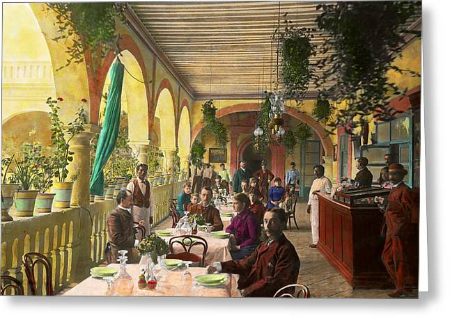 Restaurant - Waiting For Service - 1890 Greeting Card by Mike Savad