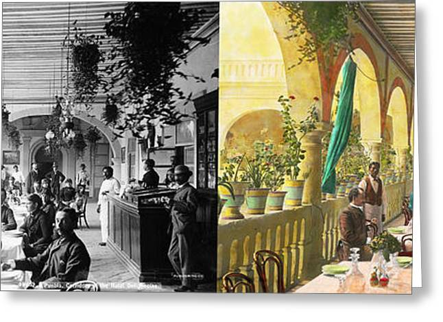 Restaurant - Waiting For Service - 1890 - Side By Side Greeting Card by Mike Savad