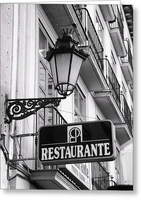 Restaurante Greeting Card by Alicia Morales