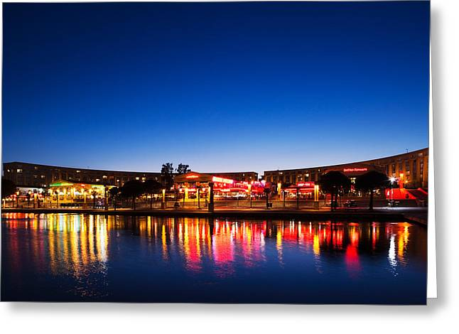 Restaurants By The Esplanade De Leurope Greeting Card by Panoramic Images