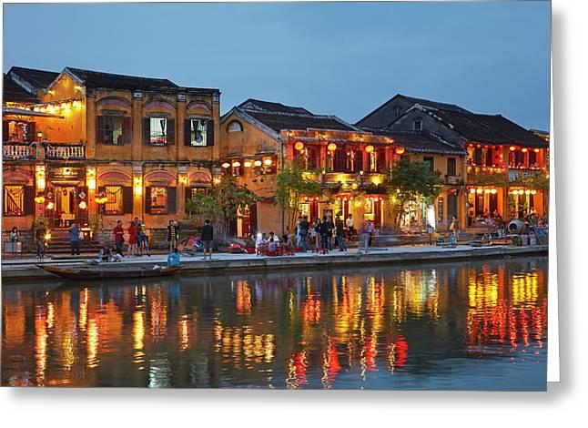 Restaurants Reflected In Thu Bon River Greeting Card by David Wall