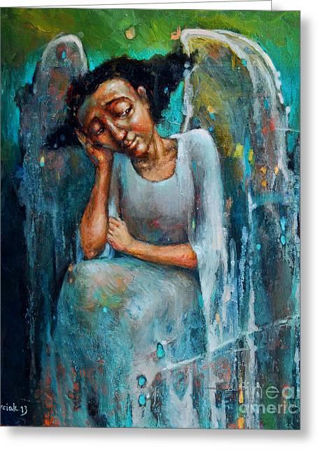 Resting Angel Greeting Card by Michal Kwarciak