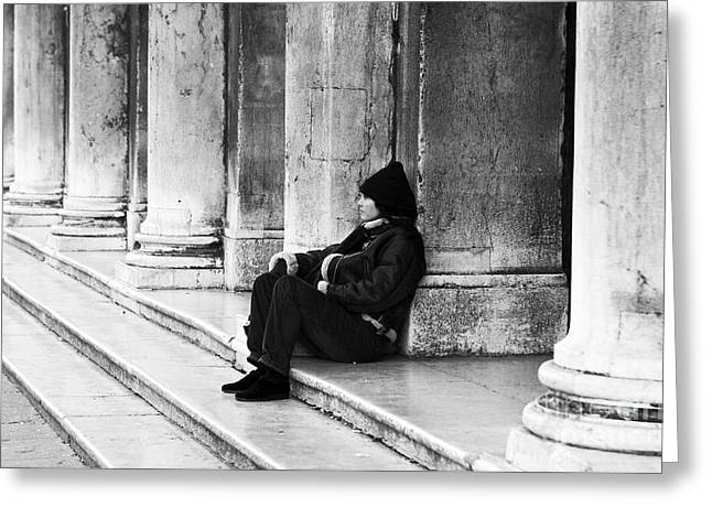 Resting At St. Mark's Square Greeting Card by John Rizzuto