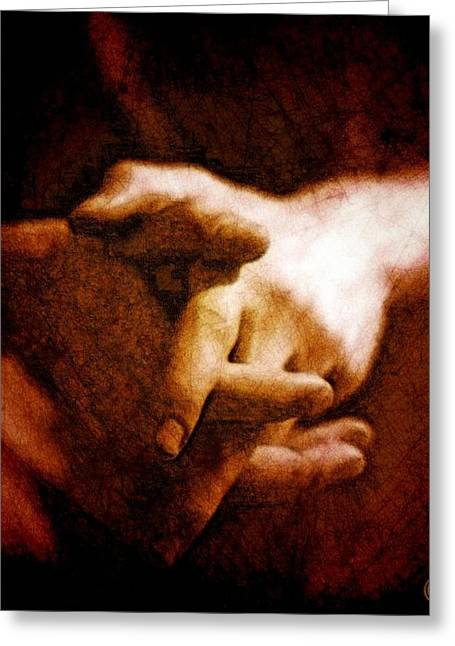 Resting Hands Greeting Card by Gun Legler