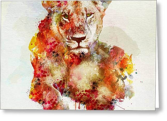 Resting Lioness In Watercolor Greeting Card