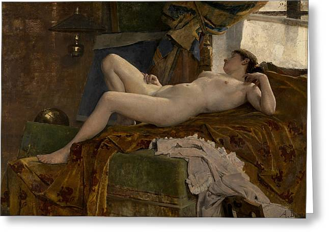 Resting Model Greeting Card by Auguste Durst