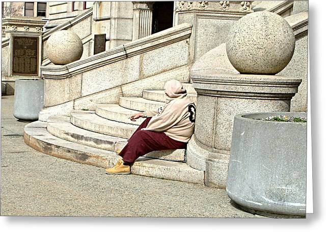 Resting On The Steps Of City Hall Greeting Card by Mike McCool