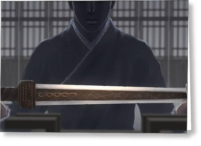 Resting Sword Greeting Card by Hiroshi Shih