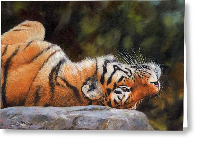 Resting Tiger Painting Greeting Card