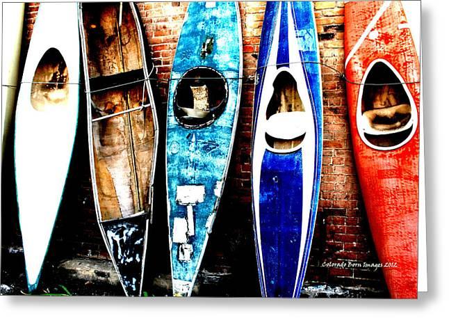 retired Kayaks Greeting Card by Rebecca Adams