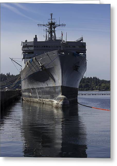 Retired Navy Ship Greeting Card by Cathy Anderson