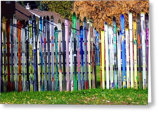 Greeting Card featuring the photograph Retired Skis  by Jackie Carpenter