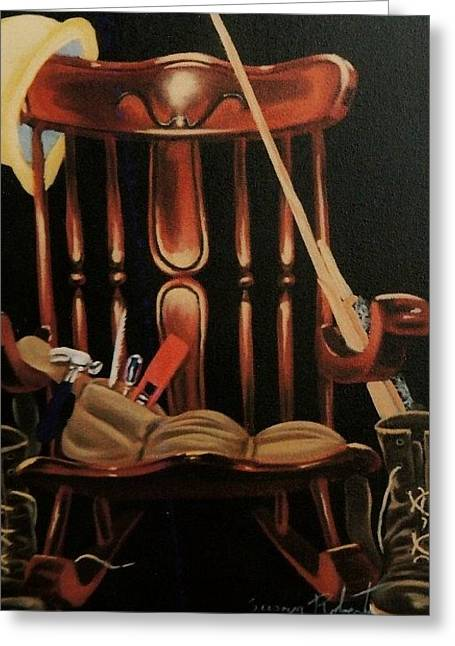 Greeting Card featuring the painting Retiring Carpenter by Susan Roberts