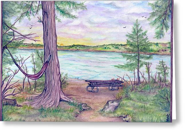 Retreat By The Lake Greeting Card by Jan Wendt