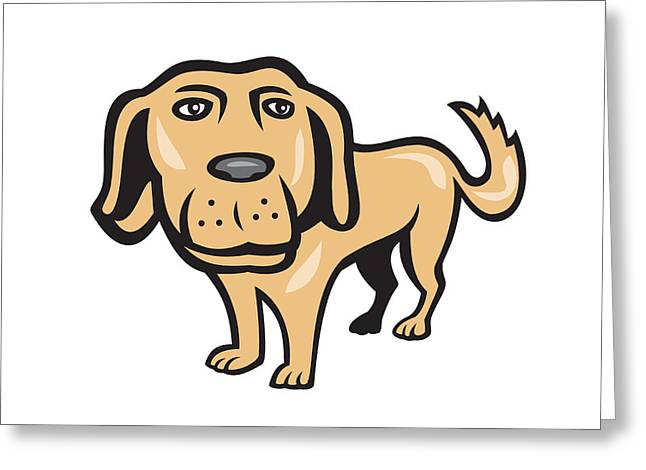 Retriever Dog Big Head Isolated Cartoon Greeting Card by Aloysius Patrimonio