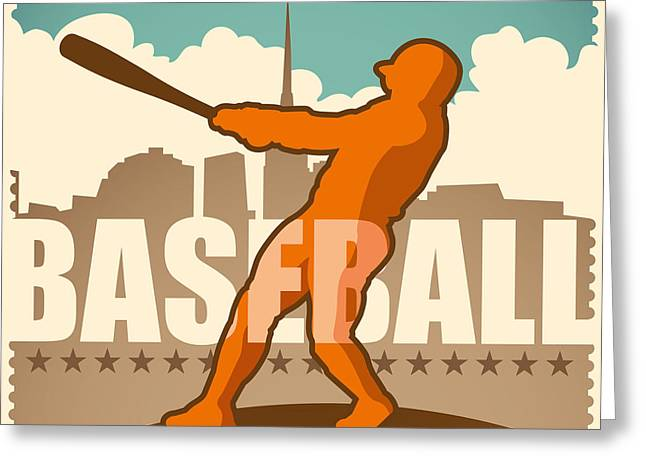 Retro Baseball Poster. Vector Greeting Card