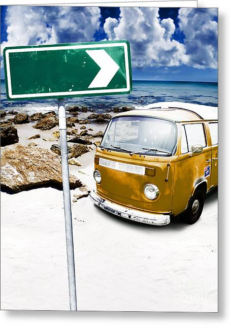 Retro Beach Van Greeting Card by Jorgo Photography - Wall Art Gallery