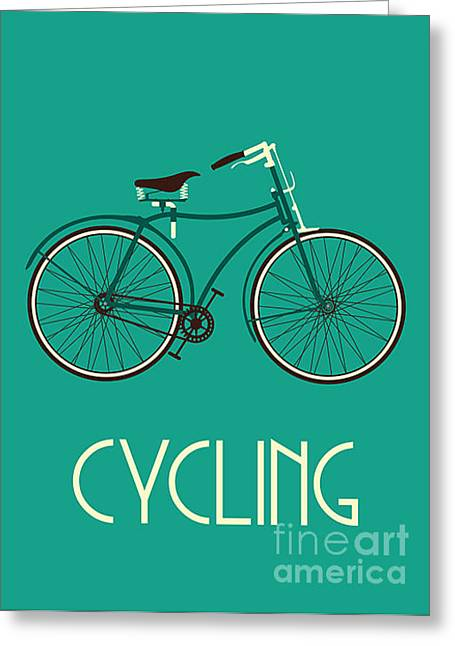 Retro Bike Poster Greeting Card by Negovura