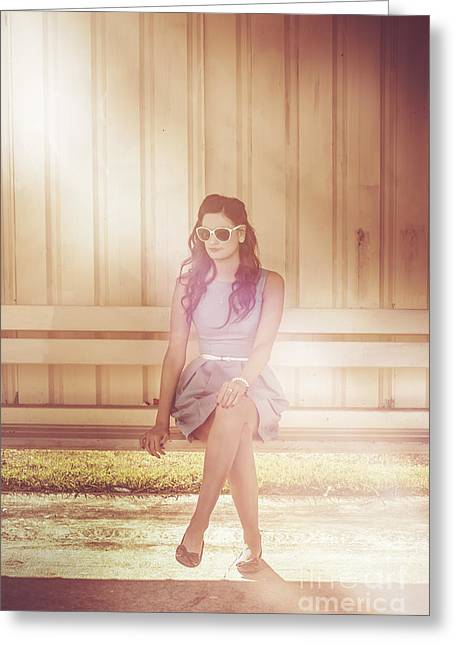 Retro Bus Stop Pin Up Girl Greeting Card by Jorgo Photography - Wall Art Gallery