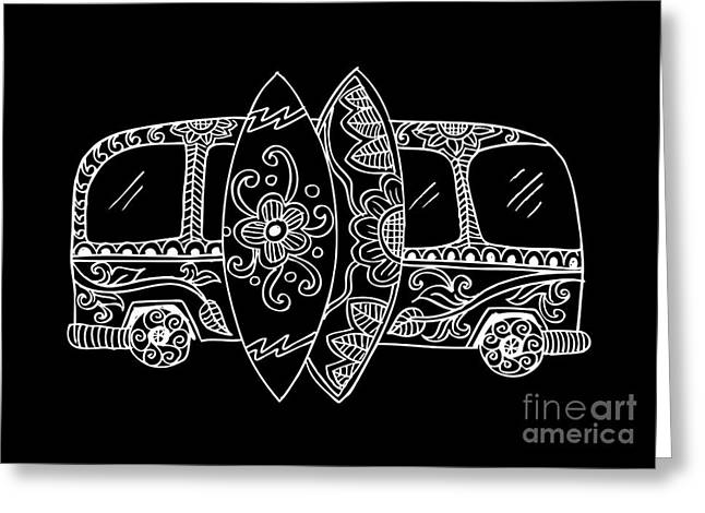 Retro Bus With Surf Boards In Zentangle Greeting Card