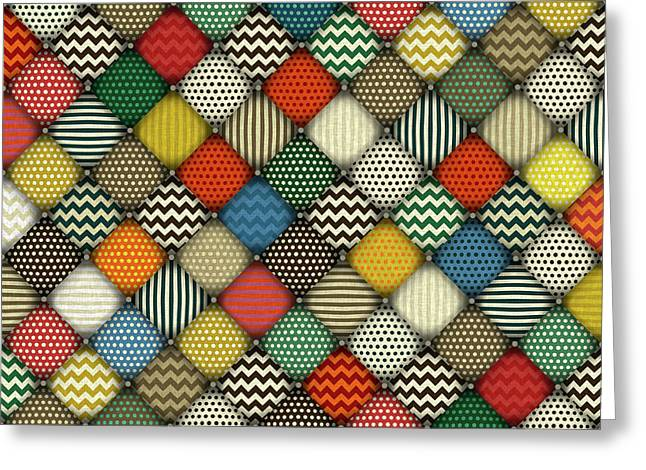 Retro Buttoned Patches Greeting Card by Sharon Turner