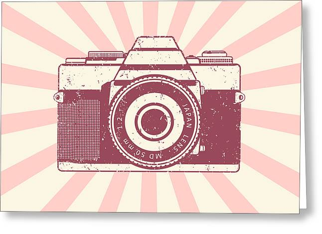 Retro Camera, Vintage Design, Vector Greeting Card