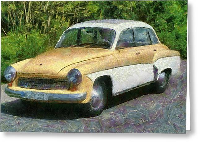 Retro Car Wartburg Greeting Card by Georgi Dimitrov