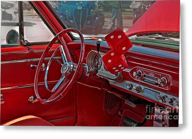Greeting Card featuring the photograph Retro Chevy Car Interior Art Prints by Valerie Garner