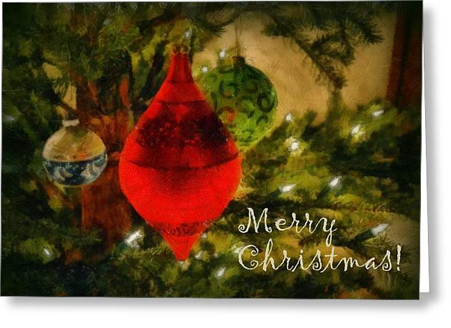 Retro Christmas Greeting Card by Michelle Calkins