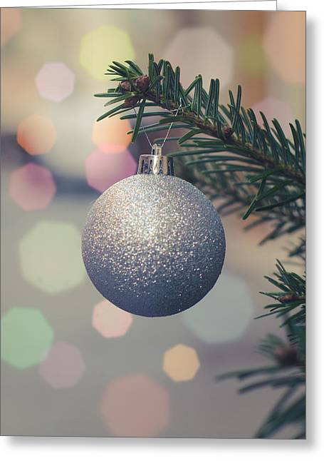 Retro Christmas Tree Decoration Greeting Card by Mr Doomits