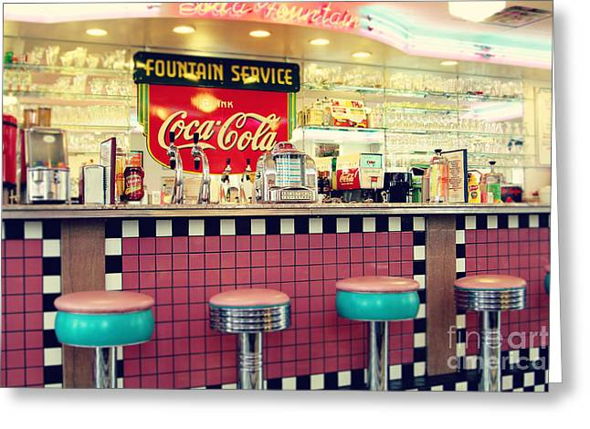 Retro Diner Greeting Card by Sylvia Cook