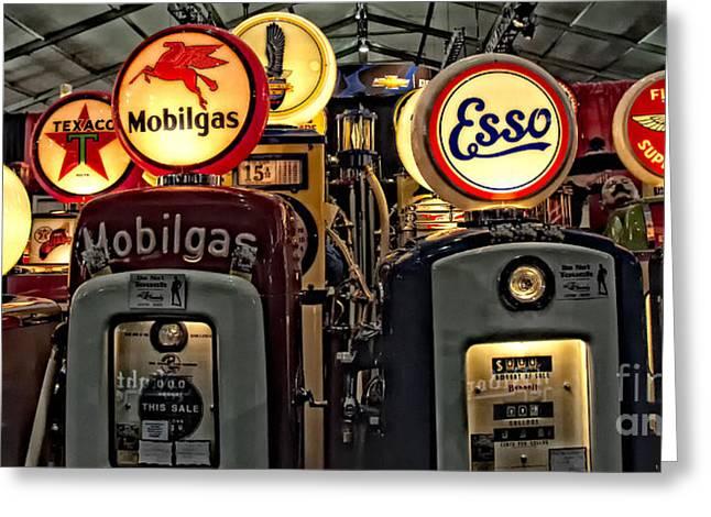 Retro Gas Pumps Greeting Card