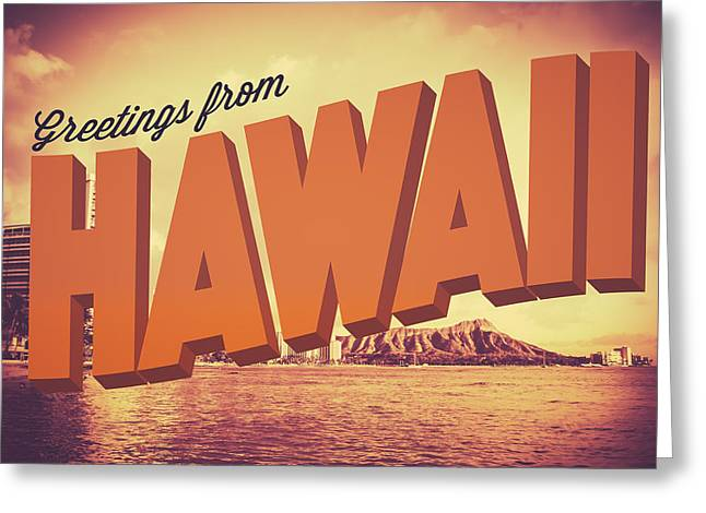 Retro Greetings From Hawaii Postcard Greeting Card