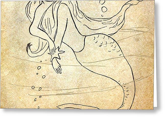 Retro Mermaid Greeting Card