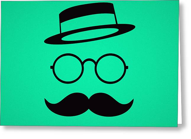 Retro Minimal Vintage Face With Moustache And Glasses Greeting Card by Philipp Rietz