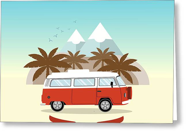 Retro Minivan With Palm Trees And Greeting Card