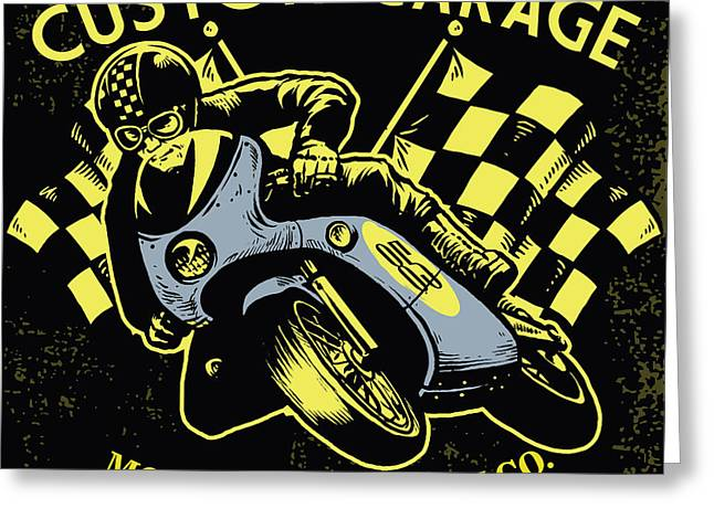 Retro Motorcycle Race Greeting Card