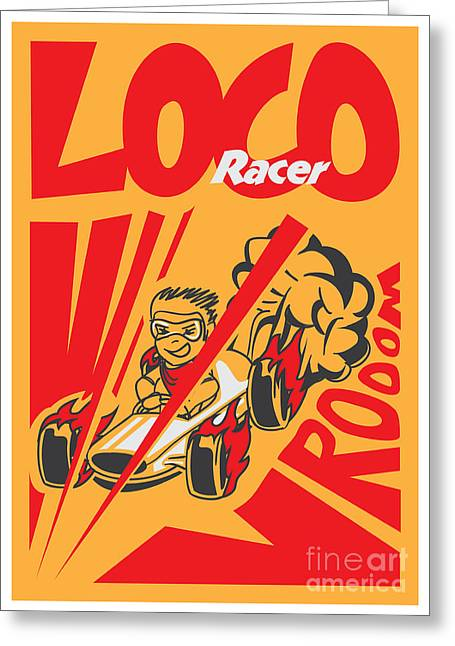 Retro Poster Cartoon Vintage Race Car Greeting Card