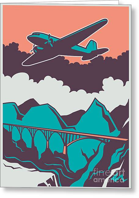 Retro Poster With Airplane. Vector Greeting Card