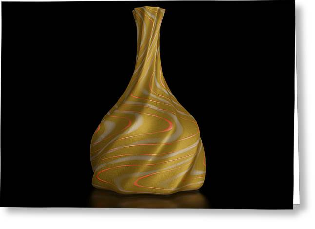 Retro Revival Vase Isolated On Black Greeting Card by Andrii Kondiuk