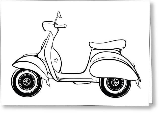 Retro Scooter Stylized In Doodle Style Greeting Card