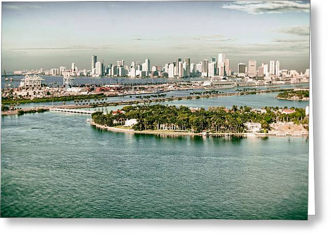 Retro Style Miami Skyline And Biscayne Bay Greeting Card