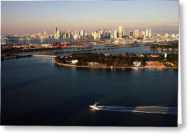 Greeting Card featuring the photograph Retro Style Miami Skyline Sunrise And Biscayne Bay by Gary Dean Mercer Clark