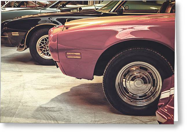 Retro Styled Image Of Muscle Cars Greeting Card