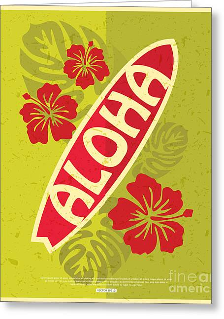 Retro Surfing Typographical Poster With Greeting Card