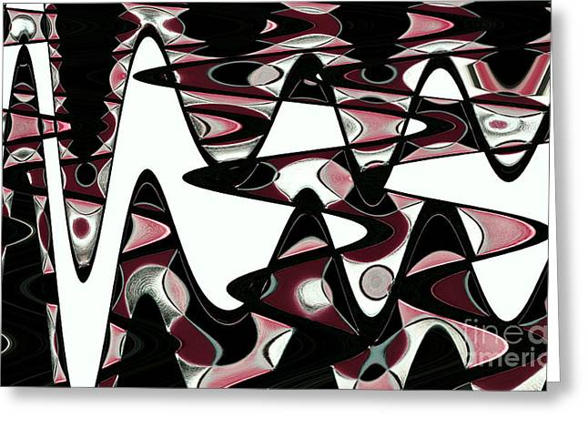 Retro Waves Abstract - Burgundy Greeting Card by Natalie Kinnear